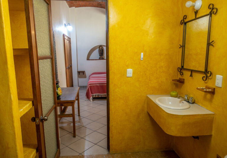 Al Sol Oaxaca Apartment 3 Bathroom looking into bedroom